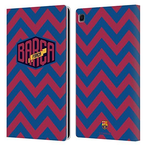 Head Case Designs Licenciado Oficialmente FC Barcelona Zigzag Forca Barca Carcasa de Cuero Tipo Libro Compatible con Samsung Galaxy Tab S6 Lite