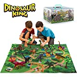 SNAEN Dinosaur Toys Set with 9 Realistic Dinosaur Figures, Activity Play Mat & Trees, Educational Toys Indoor Outdoor Playset to Create a Dino World w/ T-Rex