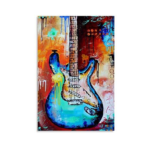 XIEHOU Cartel de pintura de guitarra eléctrica pintura decorativa lienzo arte de...