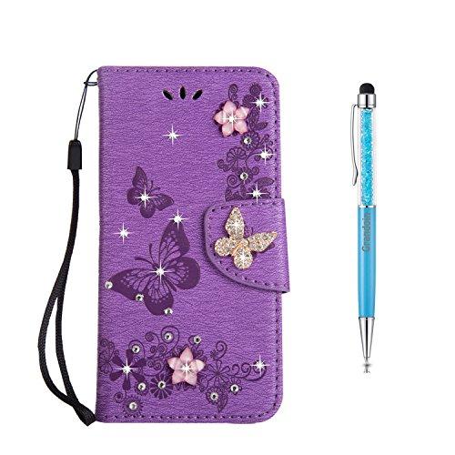 Grandoin Huawei P10 Plus Hülle, Bling Glitzer Glitter Handyhülle im Brieftasche-Stil für Huawei P10 Plus Handytasche PU Leder Flip Cover Hülle Schutzhülle Etui Hülle (Lila)