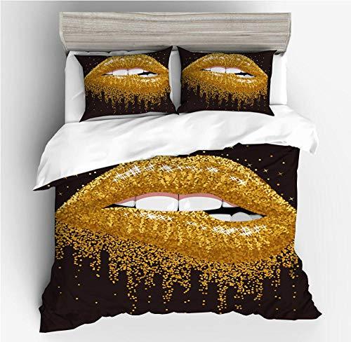Juego de cama con funda nórdica impresa en 3D con estampado labios, sexy kiss lips cama individual cama doble funda nórdica para adultos adolescentes ropa cama textiles el hogar-I_200x200cm (3pcs)