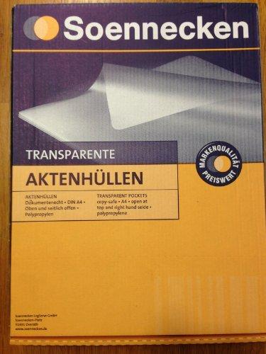 Soennecken Sichthülle DIN A4, oben und seitlich offen, dokumentenecht, 0,12 mm, Polypropylen, transparent, genarbt, 100 St./Pack.
