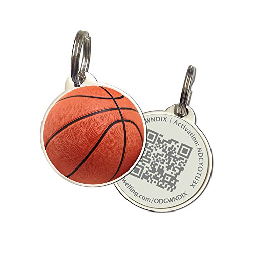 PetDwelling Advanced Basketball QR Code Pet ID Tag Links to Online Profile/Emergency Contact/Medical Info/Google Map Location Stamp