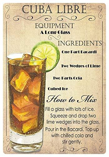 Metalen bord 20x30cm Cocktail Recipe Cuba Libre Bacardi Cola IJs Limone schild