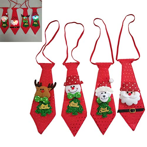 MOTOULAX 4 Piezas LED Brillantes Corbatas de Navidad para Niños, Brillante Corbata Navideña, Papá Noel Muñeco de Nieve Reno Oso Pajaritas, Regalo para Niños, Suministros para Fiestas