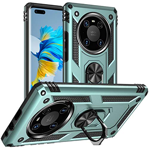 DAWEIXEAU für Huawei Mate 40 Pro Hülle,Handyhülle Hybrid Harte Rüstung Drop Resistance Handys Schutzhülle für Huawei Mate 40 Pro (Grau Grün)