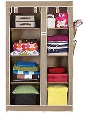 FOLDDON FD123 Multipurpose Cloth Storage Wardrobe Cupboard Closet with 8 Racks Foldable Double Door Design.