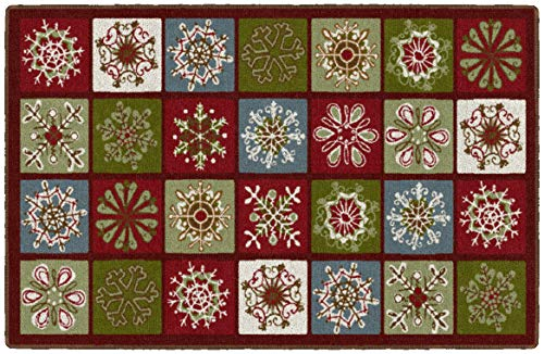 Brumlow MILLS Holiday Blocks Washable Festive Christmas Squares Indoor or Outdoor Holiday Rug for Living or Dining Room, Bedroom and Kitchen Area, 30'' x46, Multi (EW20559-30X46BH)