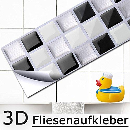 Grandora 4er Set 25,3 x 5,4 cm Fliesenaufkleber schwarz weiß Silber Mosaik I 3D selbstklebend Fliesendekor Fliesen Küche Bad Wandaufkleber Wandsticker Aufkleber W5194