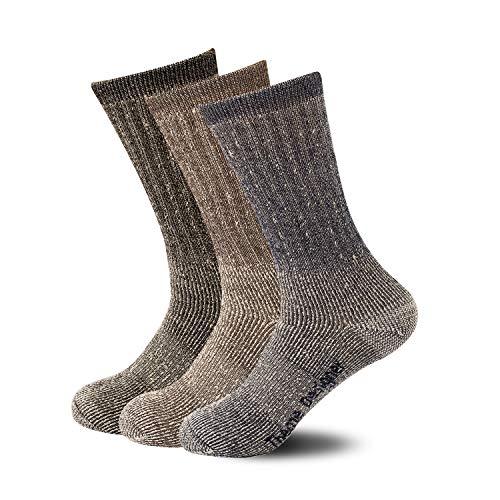 ThemeDesigner Mens Hiking Socks Merino Wool Blend Hike Winter Sock Black Blue Boot Wool Quarter Crew Dry Socks Thick for Women Man-TD06M