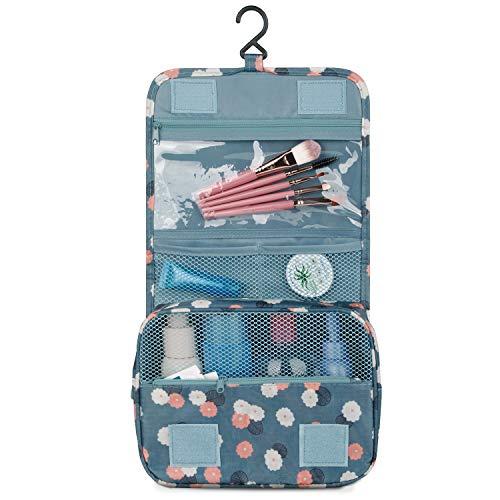 Travel Hanging Toiletry Wash Bag Makeup Cosmetic Organizer for Women Girls Kids Waterproof (Blue Flower)