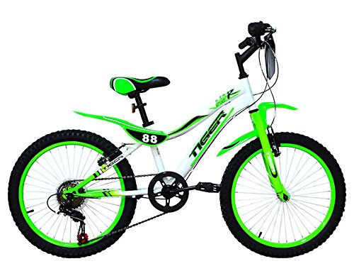 Tigre 88 moto marco de acero rueda de bicicleta – verde/blanco (18