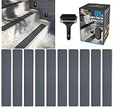 cocofy Cinta Antideslizante para Escaleras |10 Tiras Antideslizantes para Escaleras (90x15 cm) Gris | Fuerte y Resistente| Cinta Antideslizante Escaleras | Incluye Rodillo