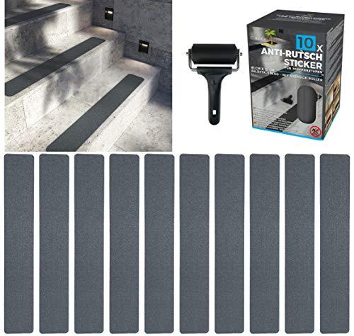 cocofy Anti-Rutsch Sticker für Treppen außen und innen | 10x Streifen (61x10 cm) grau | Starker Halt dank Spezial-Outdoor-Oberfläche | Rutsch-Schutz für Treppenstufen | mit Montageroller