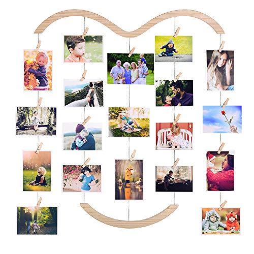 EASTERNSTAR Bilderrahmen Collagen, Bilderrahmen für Mehrere Bilder Holzbilderrahmen mit 30 Kleinen Holzklammern zur Wanddekoration Foto Bilder Postkarten Memo