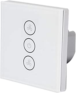 Fan Switch, leegoal Smart Wireless Wall Mounted Glass Panel Touch Switch with APP Remote Control, Timer Set, Multi-User Co...