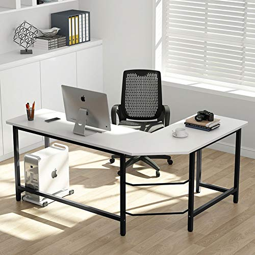 Tribesigns Modern L-Shaped Desk Corner Computer Desk PC Laptop Study Table Workstation Home Office Wood & Metal (White/Black)