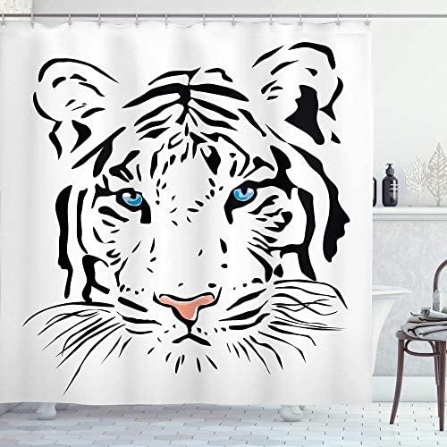 Tattoo Duschvorhang Kopf der herrlichen seltenen weißen Albino Tiger mit ozeanblauen Augen Bild Stoff Badezimmer Dekor Set-180x180cm