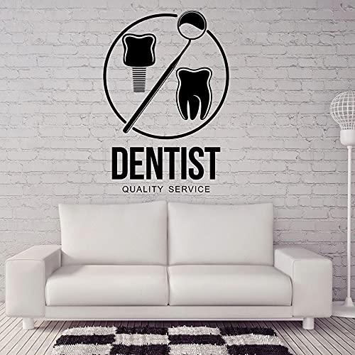 Clínica Dental Dentista Servicio de calidad Logo Signo Dientes Cuidado de la salud Oficina Hospital Vinilo Etiqueta de la pared Arte Calcomanía Estudio Decoración para el hogar Mural