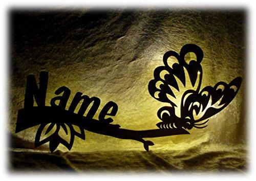 Unbekannt LED Schlummerlicht Nachtlicht Motiv: Schmetterling individualisiert mit Ihrem Wunschnamen Geburt oder Taufe