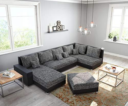DELIFE Couch Panama Schwarz Ottomane rechts Longchair Links mit Hocker Wohnlandschaft modular Sofaart: Wohnlandschaft