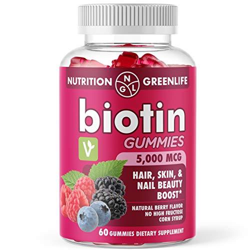 Biotin Gummies 5,000 MCG Hair, Skin, & Nails Beauty Boost - Vegan - Natural Flavors and Colors - 60Ct