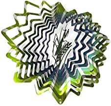 WorldaWhirl Whirligig 3D Wind Spinner Hand Painted Stainless Steel Twister Praying Mantis (6.5 Inch, Multi Color)