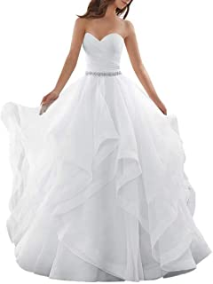 DressilyBee Women`s Organza Sweetheart Wedding Dress with Beadings and Rhinestones Belt Ball Gown Ruffles Brial Gowns
