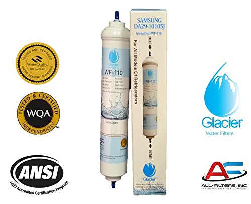 """Inline Water Filter For Refrigerators, Ice Makers, Coffee Makers, Water Fountains, Water Coolers, Sink Faucets, RV, Campers, and Boats - with 1/4"""" Quick-Connect Fittings"""
