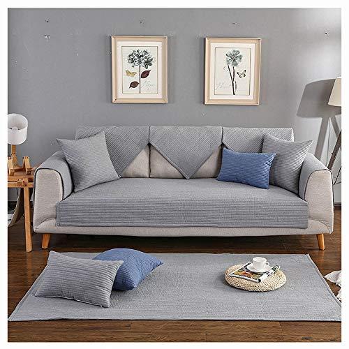 KEANCH Sofabezug aus Baumwolle Schonbezug, Gesteppter, Rutschfester Sofabezug für Sofagarnitur für 1,2,3-Polstercouch (Color : Gray, Size : 1pcs90x180cm(35x71inch))