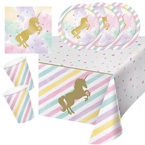Creative Converting 33-teiliges Party-Set goldenes Einhorn - Unicorn Sparkle - Teller Becher Servietten Tischdecke für 8 Kinder