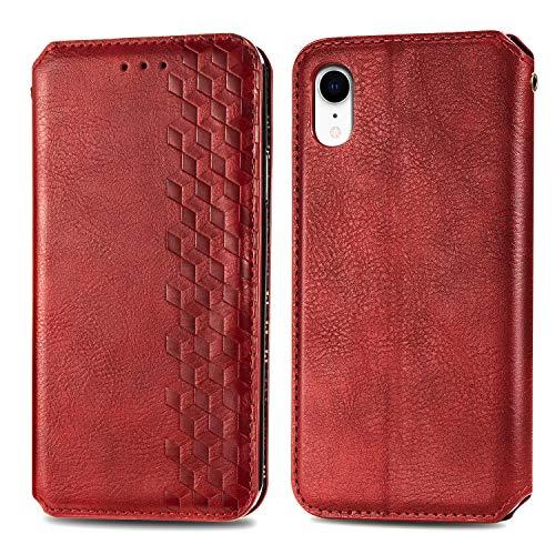FEYYXI Handyhülle für iPhone XR Hülle Leder Schutzhülle Brieftasche mit Kartenfach Stoßfest Handyhülle Case für Apple iPhone XR - FESHD010071 Rot