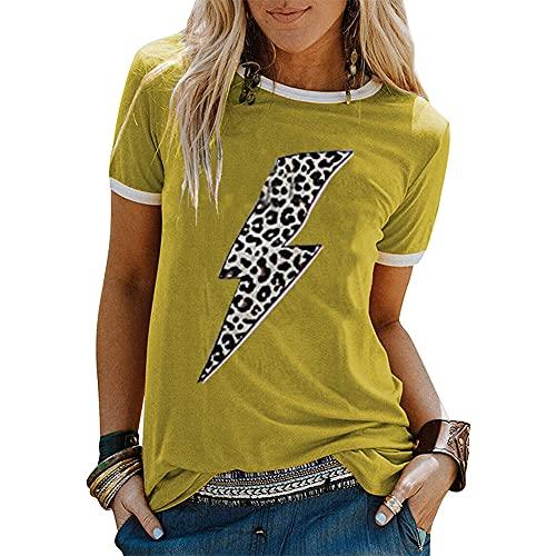 Mayntop - Maglietta estiva da donna, a maniche corte, con stampa grafica con bandiera D-senape Giallo 46