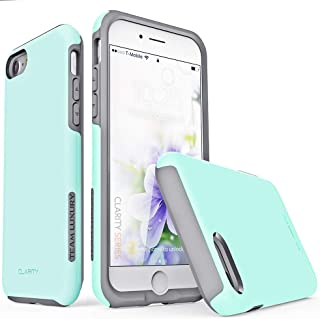 TEAM LUXURY [Clarity Series Case for iPhone 7 & 8, Updated G-II Ultra Defender [Shock Absorbent] Premium Protective Phone Case (4.7 Inch) - Soft Mint/Gray