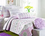 Cozy Line Home Fashions Orchid Lola Bedding Quilt Set, Floral Pink Light Purple Grey Flower Print, 100% Cotton Reversible Bedspread, Coverlet for Kids Girls (Orchid Sunflower, Twin - 2 Piece)
