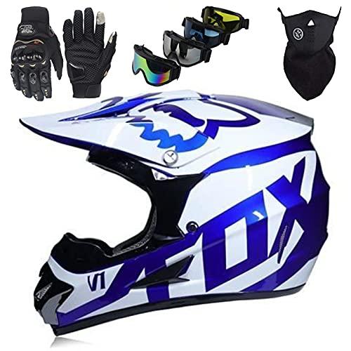Casco Moto Niños, Casco Motocross Niños Set con Guantes/Gafas/Máscara, Casco MTB Integral para Jóvenes y Adultos, Casco Unisex para Motocicleta Todo Terreno - con Diseño FOX - Blanco Azul