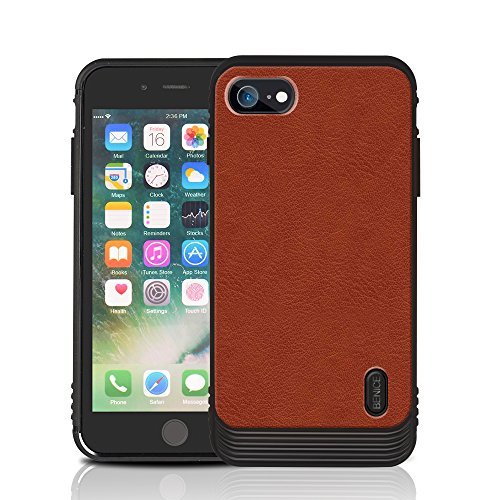 iPhone 7 Plus/8 Plus case, MagicSky Ultra Slim Premium PU Leather Shock-Absorbing Protective Bumper Case with Built-in Nickel Metal Plate Work with Universal Magnetic Phone Car Mount Holder - Brown