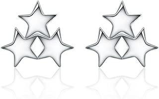 NIDA New York - Sterling Silver Lovely Lucky Three Stars Shape Stud Earrings