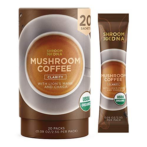 ShroomDNA Mushroom Coffee Blend with Chaga & Lion's Mane | Instant Focus + Clarity All Day | Organic + Vegan + Gluten Free | No Added Sugar | 20 Count