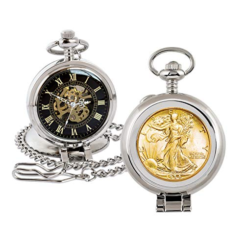 Coin Pocket Watch with Skeleton Quartz Movement   Gold Layered Silver Walking Liberty Half Dollar   Genuine U.S. Coin   Sweeping Second Hand, Roman Numerals   Certificate of Authenticity