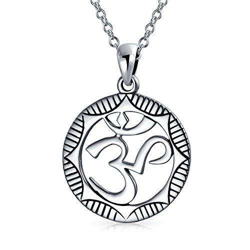 Runder Kreis Aum Om Ohm Sanskrit Zeichen Yoga Medaillon Anhänger Mit Halskette Für Damen 925 Sterling Silber Oxidiert