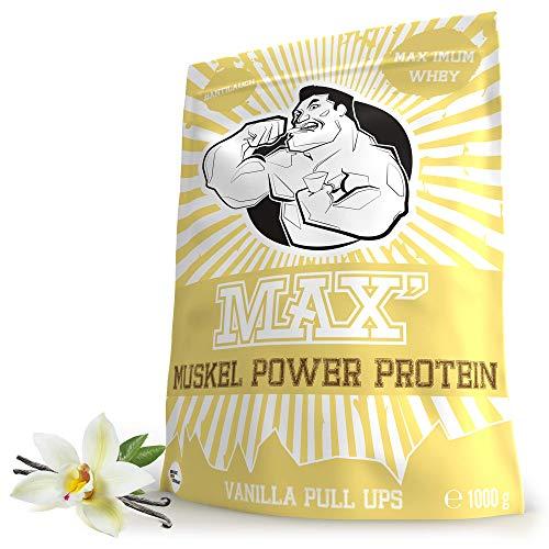 Whey Protein Eiweißpulver Lower Carb | Protein Pulver Muskelaufbau & Abnehmen | Protein Shake Whey | Eiweiß-Shake als Mahlzeitersatz & Sportnahrung | MAX MUSKEL POWER PROTEIN (Vanille 1kg)