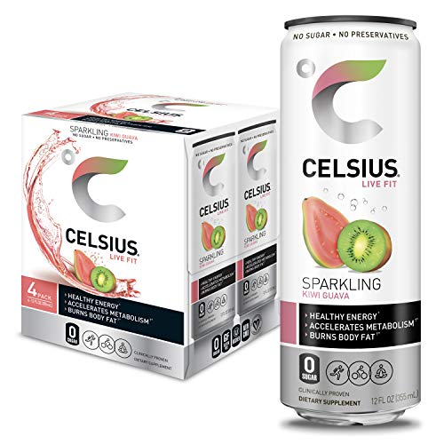 CELSIUS Sparkling Kiwi Guava Fitness Drink, Zero Sugar, 12oz. Slim Can, 4 Pack