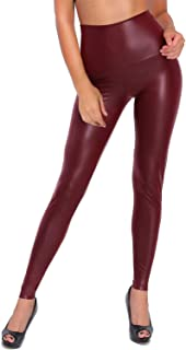 Dorimis Women Faux Leather High Waisted Leggings Sexy Stretchy Tight Plus Size Skinny Pants