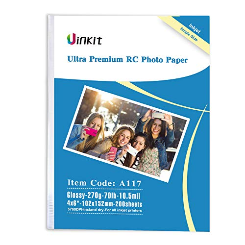 Papel fotográfico brillante RC Ultra Premium – Uinkit 100% impermeable 4x6 8.5 x 11 11 x 17 para impresión por inyección de tinta