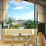 Hhkkck窓の外のカスタムファッションシービュー3D壁画壁紙パーソナリティスペース拡張リビングルーム家の装飾壁画-280X200Cm