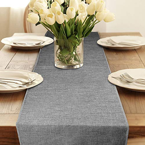 Table Runner, Gray Burlap Table Runners Modern Farmhouse Table Runner for Coffee Table, Dining Table Cover Dresser Entryway Table Runner Fall Party Decorations 12