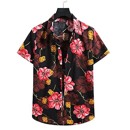 Shirt Ocio Hombre Verano Botón Transpirable Tapeta Hombre T-Shirt Estampado Básico Personalidad Manga Corta...