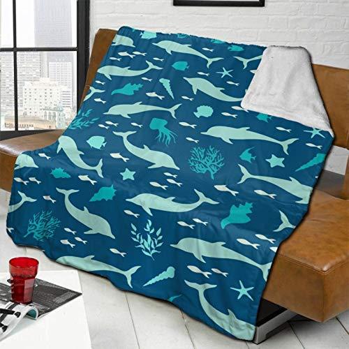 DPQZ - Coperta in pile Sherpa Sea Marina Silhuette Delphins Seashells reversibile super morbida e accogliente coperta in peluche per divano letto, ufficio, viaggi, campeggio, 150 x 150 cm
