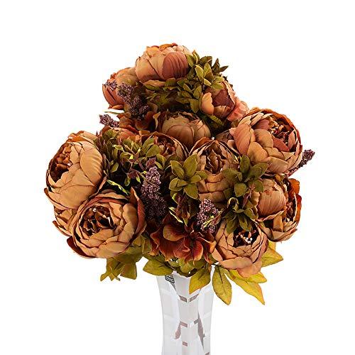 litymitzromq Artificial Flowers Fake Plants, 1 Bouquet 13 Pcs Artificial Peony Silk Flower Wedding Party Home Decoration Faux Fake Flowers Floral Arrangement